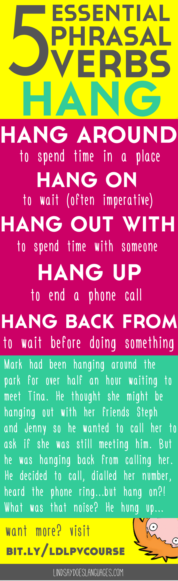 5 Essential Phrasal Verbs: Hang. Struggling to understand and use phrasal verbs in English? This e-course is everything you need to perfect this tricky topic. Click through for your free email course >> http://bit.ly/ldlpvcourse